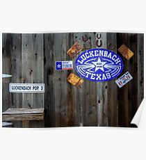 Luckenbach Texas Signs, Tags and Horseshoes Poster