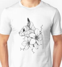 Sphynx Cat and Sakura Blossoms Unisex T-Shirt