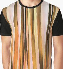 Orange Brown and Peach Autumn Stripy Lines Pattern Graphic T-Shirt