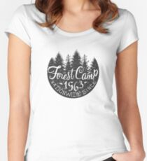 Round Forest Camp Vintage Black And White Women's Fitted Scoop T-Shirt