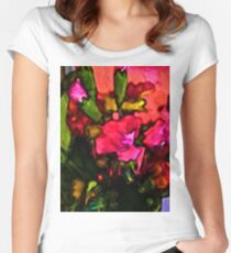 Beautiful Pink Flower with some Green Women's Fitted Scoop T-Shirt