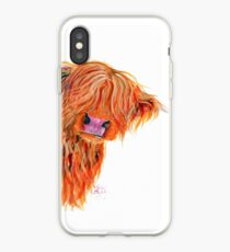 HIGHLAND COW 'PEEKABOO' BY SHIRLEY MACARTHUR iPhone Case