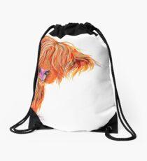HIGHLAND COW 'PEEKABOO' BY SHIRLEY MACARTHUR Drawstring Bag