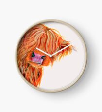 HIGHLAND COW 'PEEKABOO' BY SHIRLEY MACARTHUR Clock
