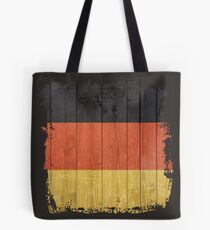 Black Yellow Gold Distressed Wood Effect Textured German Flag Tote Bag