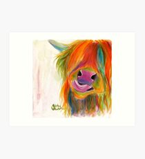HIGHLAND COW 'JUICY FRUIT JOSIE' BY SHIRLEY MACARTHUR Art Print