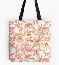 Hawaiian Flowers in Coral Peach Tote Bag