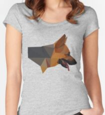 Low Poly Dog Women's Fitted Scoop T-Shirt