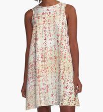 Ecru with Red Script A-Line Dress