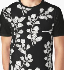 Pattern with graphical roses on black background Graphic T-Shirt