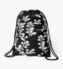 Pattern with graphical roses on black background Drawstring Bag