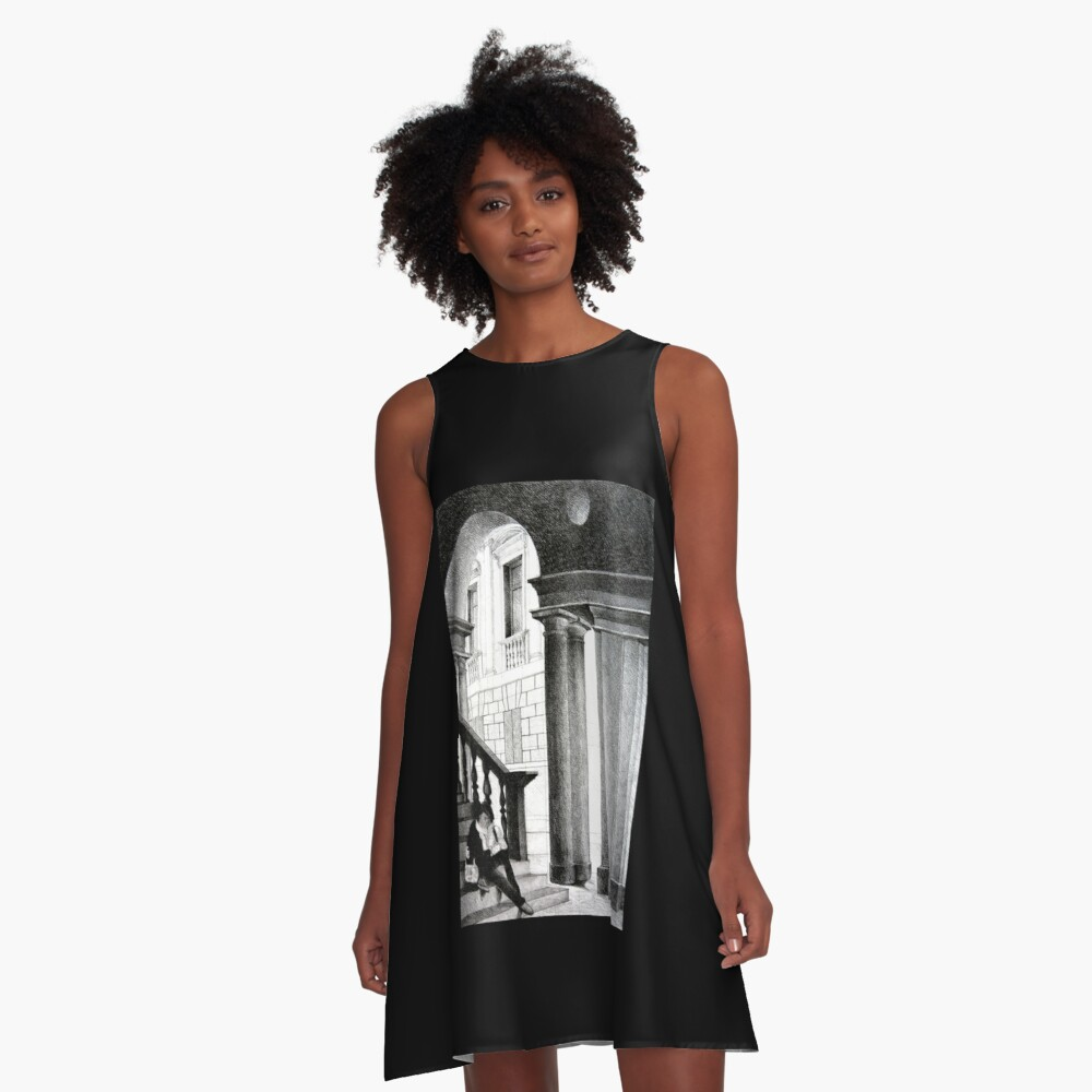 Vicenza, 2011, 50-70cm, graphite crayon on paper A-Line Dress Front