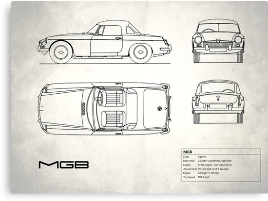 Mgb blueprint canvas prints by rogue design redbubble mgb blueprint by rogue design malvernweather Gallery
