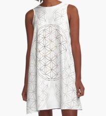 Flower of Life - Sacred Geometry - Colorful Lines Pattern A-Line Dress