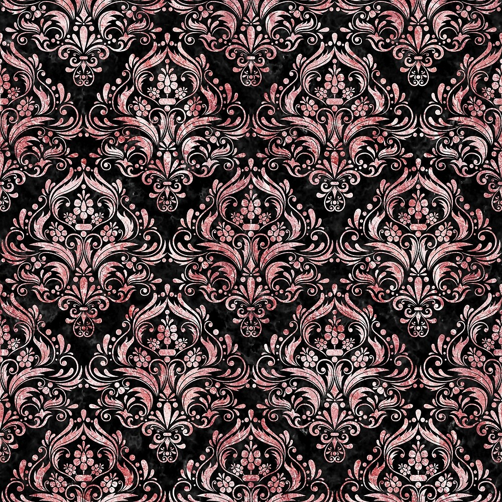 DAMASK1 BLACK MARBLE AND RED AND WHITE MARBLE by johnhunternance