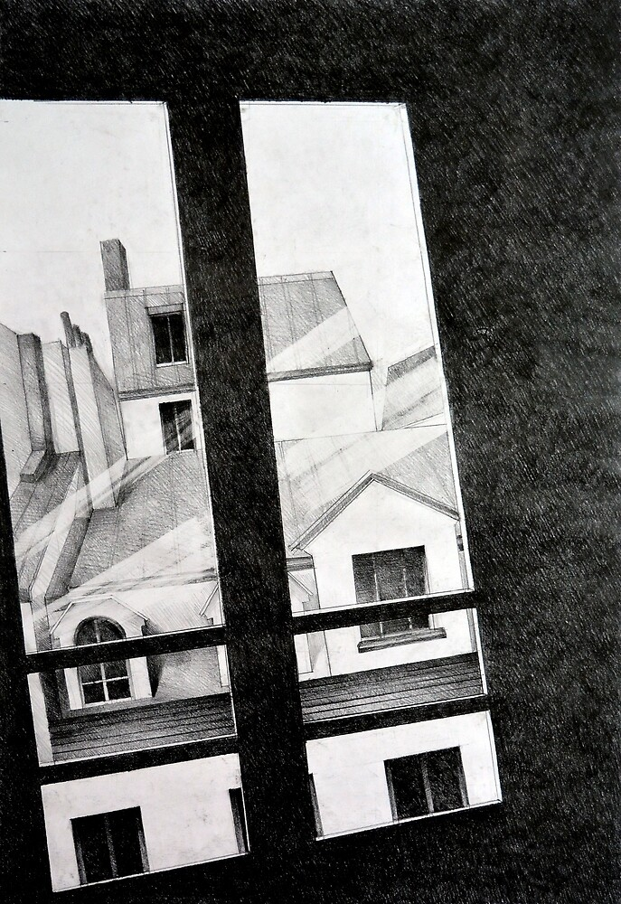 Through my Paris window, 2011, 50-70, crayon by oanaunciuleanu