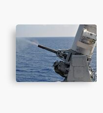 A close-in weapons system aboard the amphibious transport dock ship USS Denver. Canvas Print