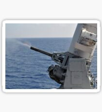 A close-in weapons system aboard the amphibious transport dock ship USS Denver. Sticker
