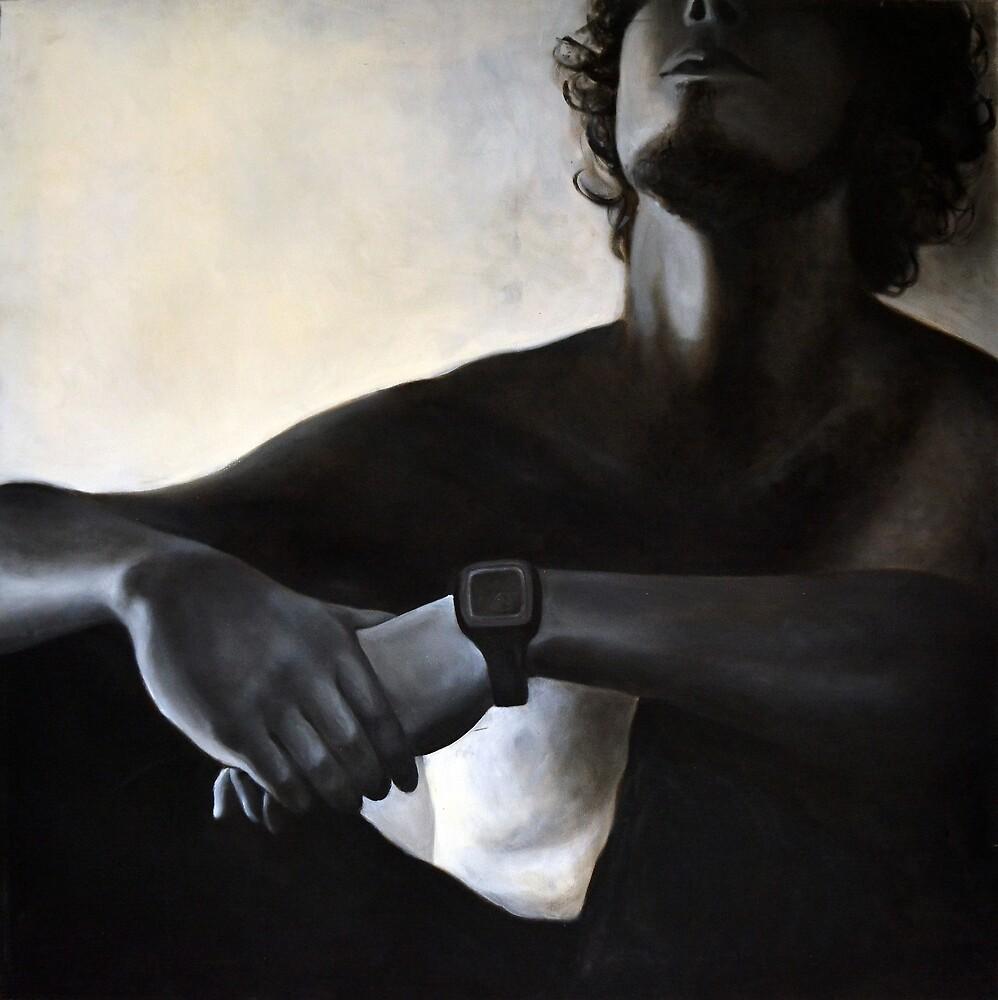 Sitting, 2011, 100-100cm, oil on canvas by oanaunciuleanu