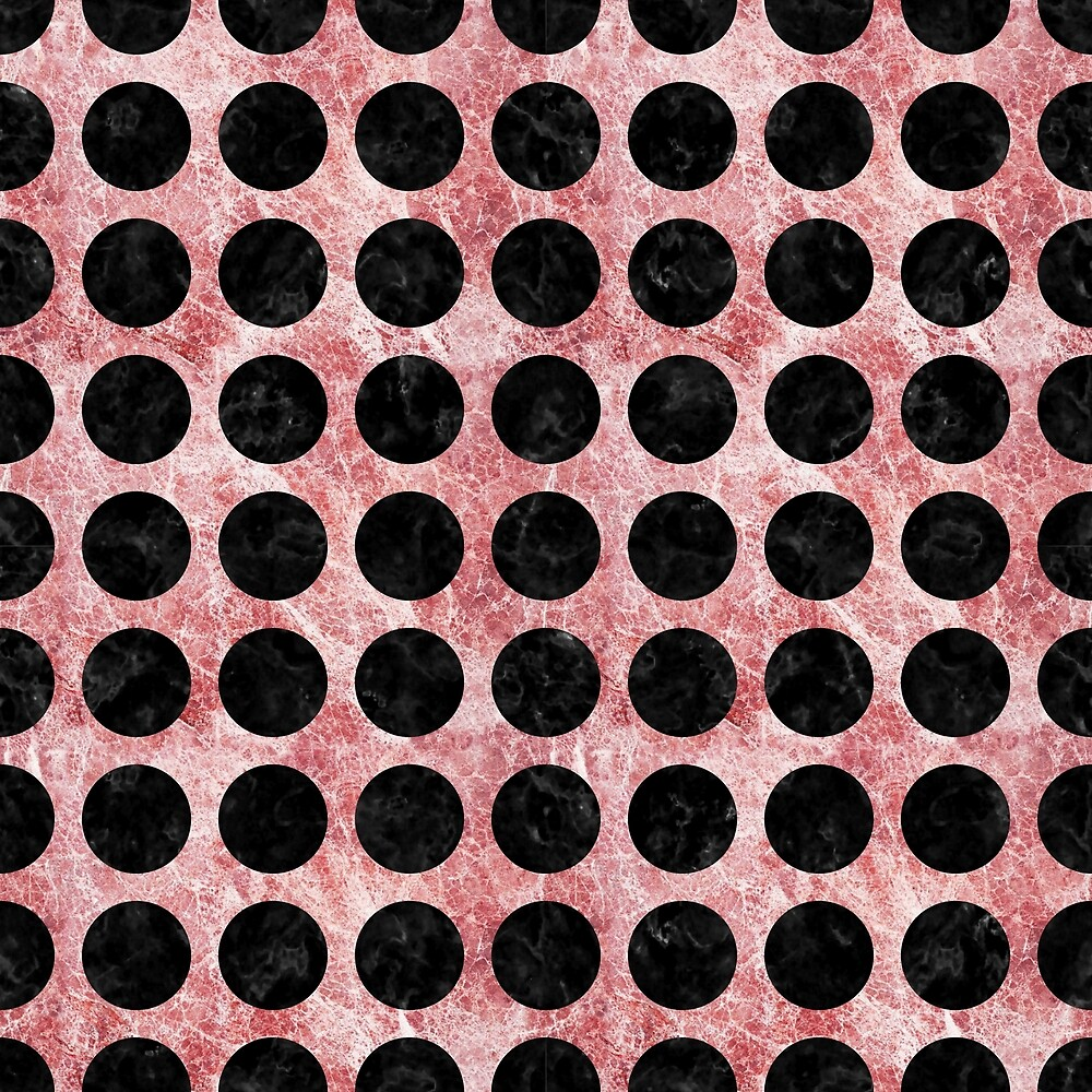CIRCLES1 BLACK MARBLE AND RED AND WHITE MARBLE (R) by johnhunternance