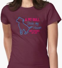 A Pitbull Stole My Heart Womens Fitted T-Shirt