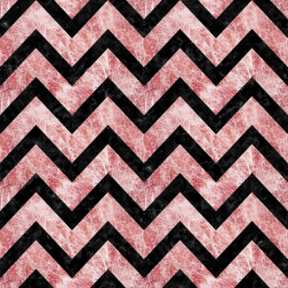 CHEVRON9 BLACK MARBLE AND RED AND WHITE MARBLE (R) by johnhunternance