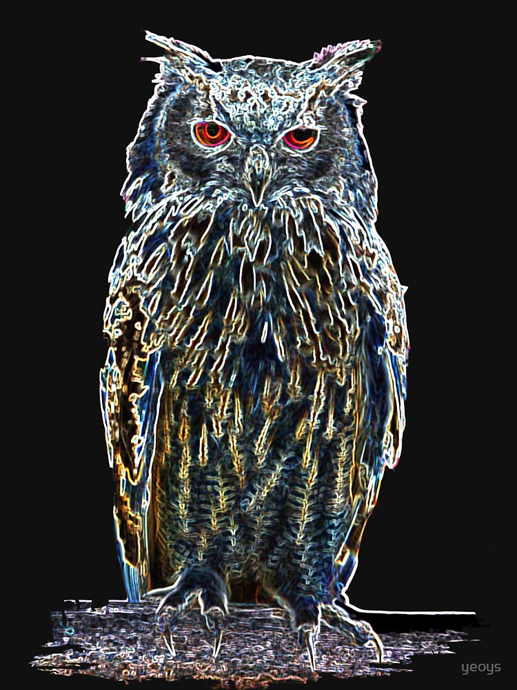 Owls Motifs> Colorful majestic glowing owl> owls by yeoys