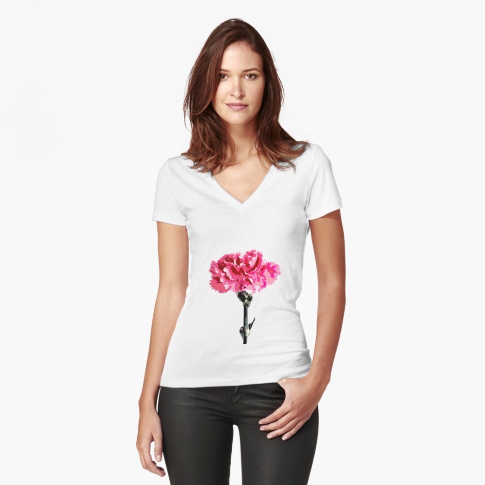Psychedelic carnation Fitted V-Neck T-Shirt