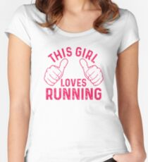 This Girl Loves Running Women's Fitted Scoop T-Shirt