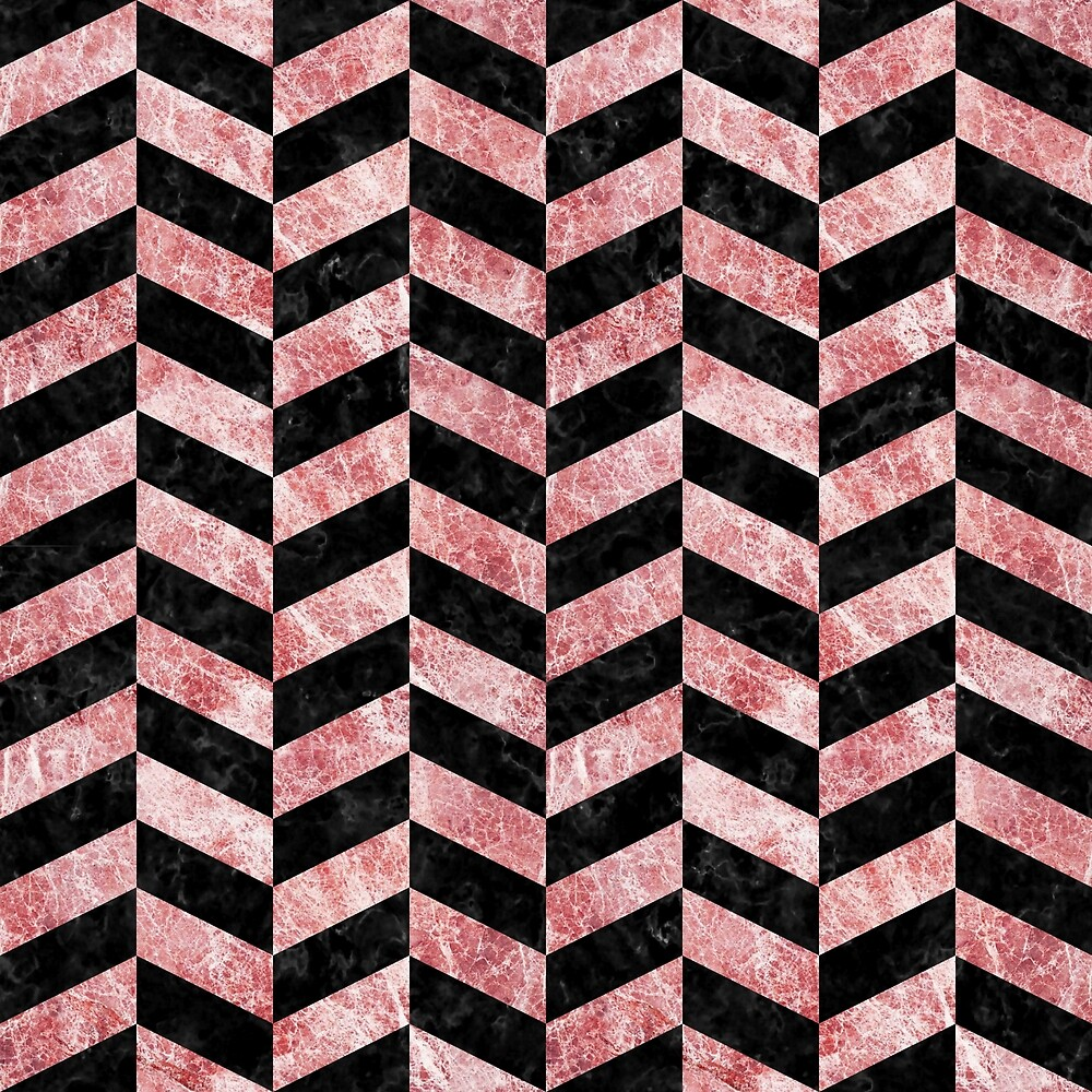 CHEVRON1 BLACK MARBLE AND RED AND WHITE MARBLE by johnhunternance