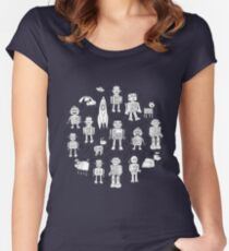 Robot Pattern - white on blue Women's Fitted Scoop T-Shirt