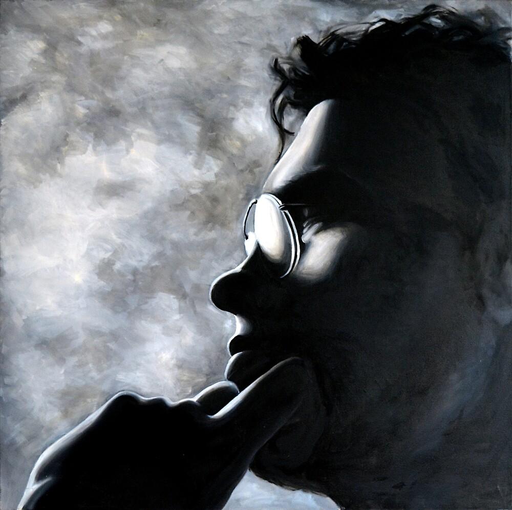 Shadowed face, 100-100cm, oil on canvas by oanaunciuleanu