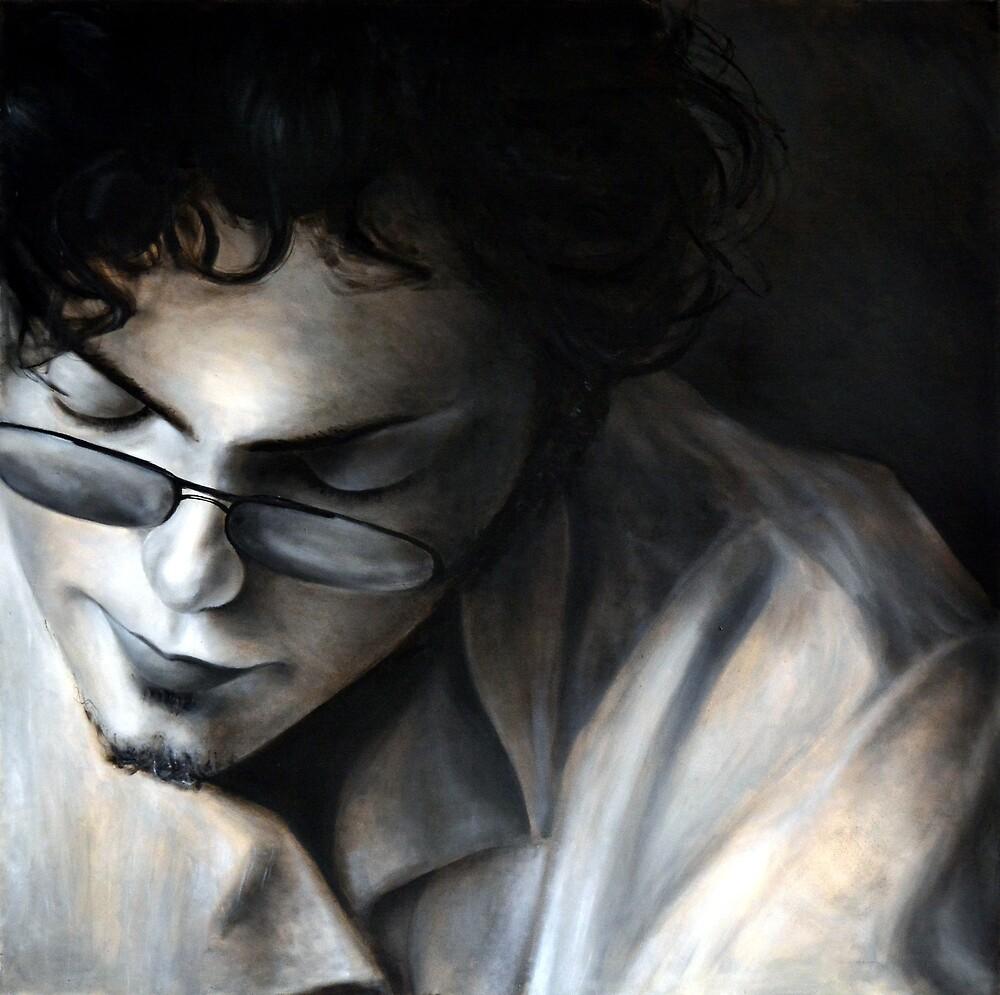 Hiding eyes, 2010, 100-100cm, oil on canvas by oanaunciuleanu