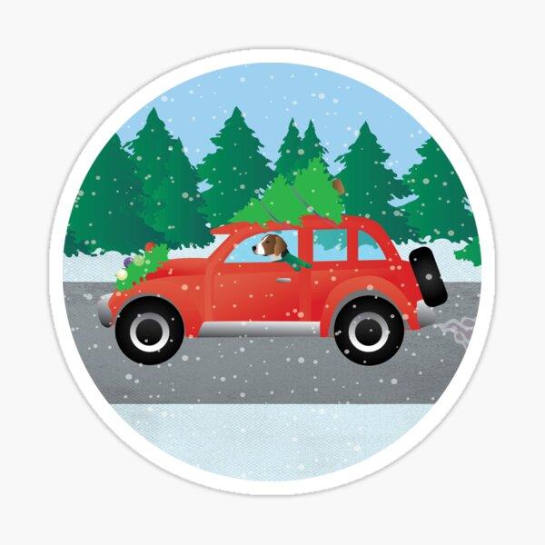 American Foxhound Dog Driving a Christmas Car Sticker