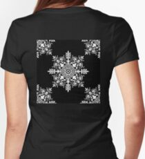 Victorian, Tile, Ornament, Design, White on Black Womens Fitted T-Shirt