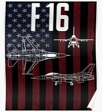 F-16 Fighter Aircraft USA Flag Aircraft Poster