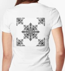 Victorian, Tile, Ornament, Design, Black on White Womens Fitted T-Shirt