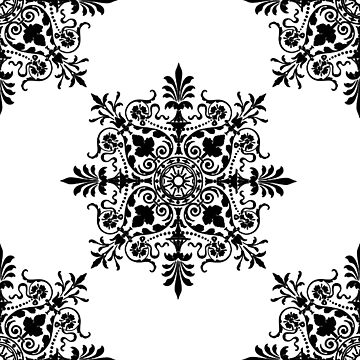 Victorian, Victorians, Tile, Ornament, Design, Black on White by TOMSREDBUBBLE
