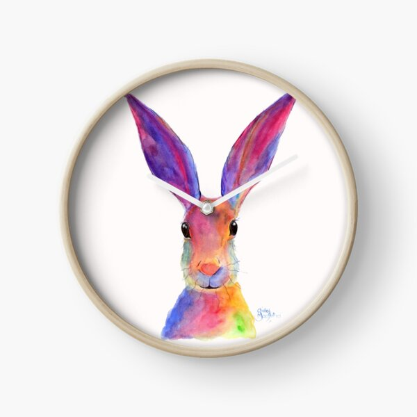 HARE RaBBiT PRiNTS 'JELLY BEAN' BY SHIRLEY MACARTHUR Clock