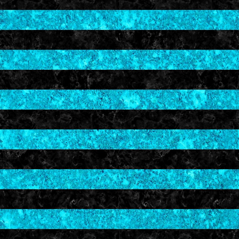 STRIPES2 BLACK MARBLE AND TURQUOISE MARBLE by johnhunternance