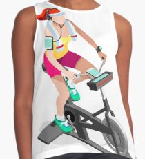 Spinning Bike Fitness Athlete Exercise Contrast Tank