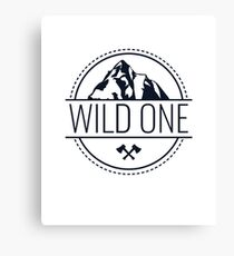 Wild One Hipster Mountain Adventure Children and Adult Design Canvas Print