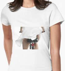 Sexy Young Woman on a Bicycle art print Womens Fitted T-Shirt