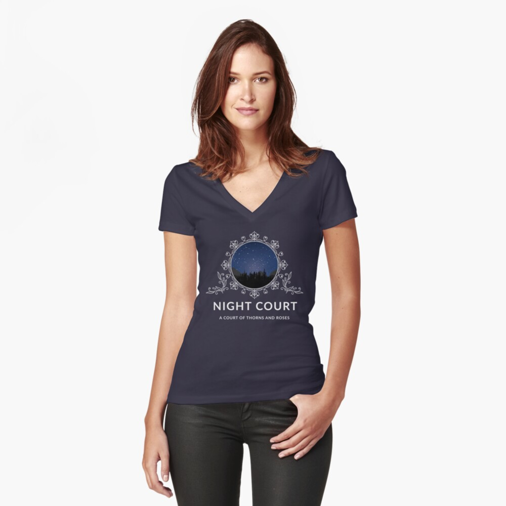 Night Court - A Court of Thorns and Roses Women's Fitted V-Neck T-Shirt Front