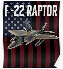 F-22 Raptor Aircraft USA Flag Design Poster