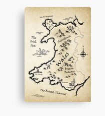 Medieval Map Of Wales - English Canvas Print