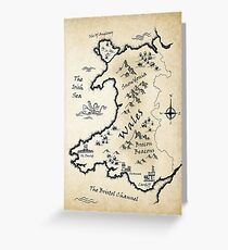 Medieval Map Of Wales - English Greeting Card