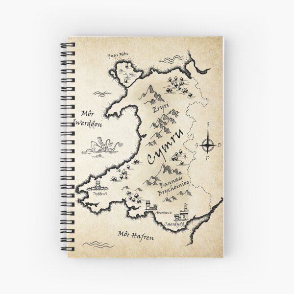 Medieval Map Of Wales - Welsh Spiral Notebook