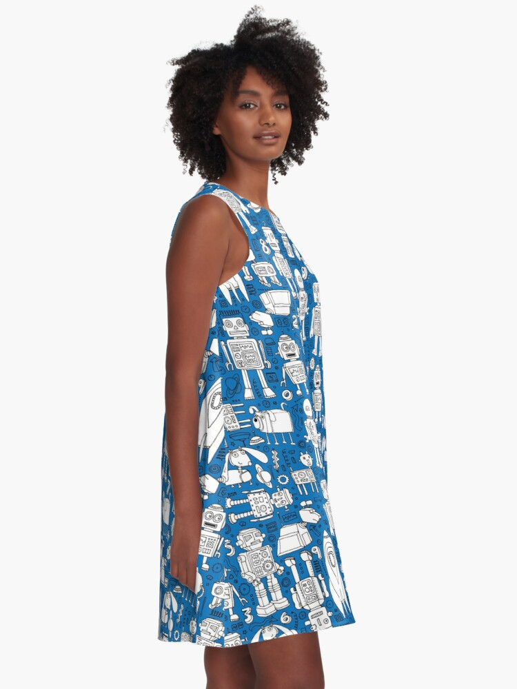 Alternate view of Robot Pattern - white on blue - Fun repeat pattern by Cecca Designs A-Line Dress