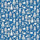 Robot Pattern - white on blue - Fun repeat pattern by Cecca Designs by Cecca-Designs